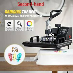 Secondhand T Shirt Heat Press Machine W 12x15in Heat Pad For Phone Cases More