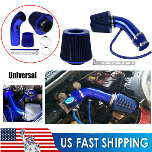 Blue 3 Cold Air Intake Filter Induction Kit Pipe Power Flow Hose System Car Auto
