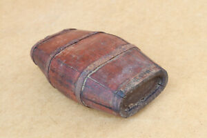 Antique Primitive Wooden Wood Barrel Keg Canteen Bottle Old Painted Early 20th