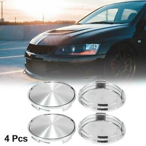 4pcs Silver Tone Car 62mm Dia 4 Clips Wheel Center Hub Caps Cover With Decal
