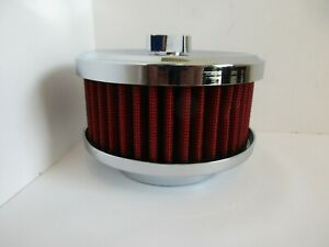 Chrome 4 1 8 Open Air Cleaner W Red Element 1 2 Bbl Hot Rod Rat Rod 2170ch Rd