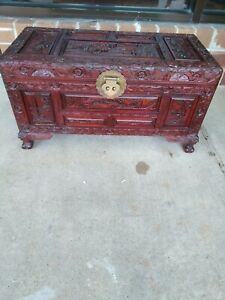 Vintage Antique Chinese Hand Carved Wood Trunk Chest Mahogany L 28 5 H 13 W 17