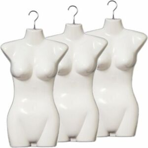 Mn 011 3pcs White Female Hanging Torso Form Mannequin With Metal Swivel Hook
