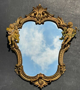 Large Vintage Carved Mirror Gold Antique Ornate Wall Florentine Fontanini Angels