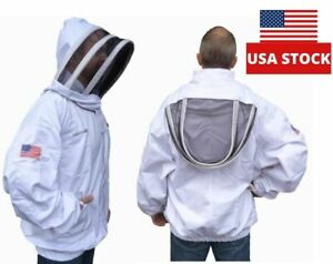 Large Professional White Cotton Adult Beekeeping Jacket Pullover Smock Veil