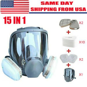 Full Face Gas Mask Painting Spraying Respirator W filters Set For 6800 Facepiece