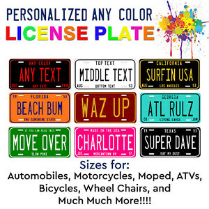Any State Any Color Custom Personalized License Plate For Auto Atv Bike Bicycle