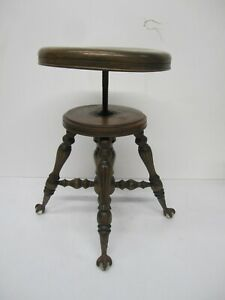 Vtg Antique Adjustable Spin Top Piano Organ Stool Seat Wood Glass Ball Claw Foot