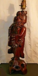 Antique Vintage Chinese Large Carved Wooden Lamp Base Statue Figure Fisherman