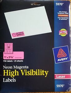 Avery Address Labels 5970 Neon Magenta Laser 1 X 2 5 8 480 Ct 16 Sheets