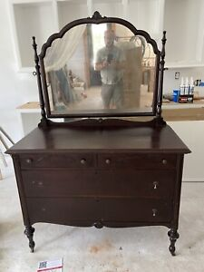 Antique Dresser With Mirror Dovetail Drawers Good Condition