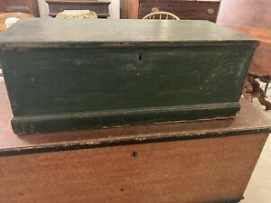 Small Antique 1820s Green Blanket Chest Wonderful Strap Hinges