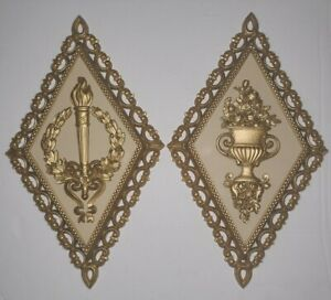 Pair Of Homco Gold Grecian Style Wall Hanging Decor Plaques 1971 7227