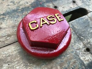Case Tractor Part Screw On Cap Antique Vintage Metal Red Yellow Part 4384a