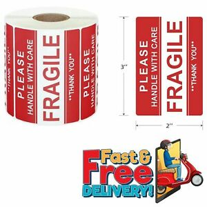 Fragile Label Stickers 2x3 Handle With Care Shipping Packing Red Warning 500pcs