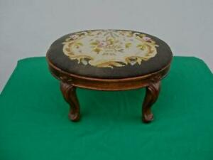 Antique Floral Needlepoint Foot Stool Mahogany Wood Frame Carved Legs