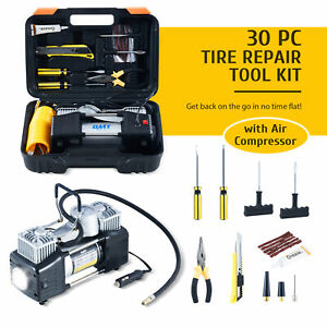 Tire Inflator And 30pc Tire Repair Kit W 12v Air Compressor For Cars Trucks Suvs