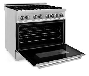 Zline 36 Dual Fuel Range With Gas Stove Electric Oven Stainless Steel ra36