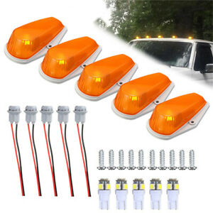 5 Cab Roof Light Marker Amber Covers W Base Housing For Ford F 73 97 Super Duty
