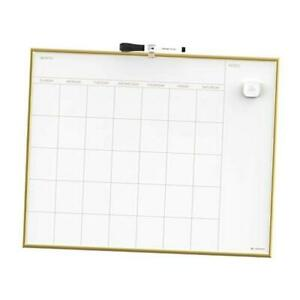 Magnetic Monthly Calendar Dry Erase 20 X 16 Inches Gold Aluminum Frame Board