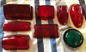 8 Vintage Red Green Glass Lens Truck Auto Tail Light Lamp Brake Light Motorcycle