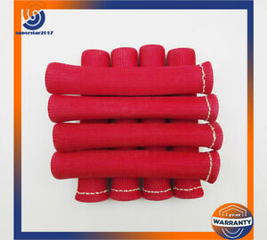 8pcs Red Spark Plug Wire Boots Heat Shield Protector Sleeve Sbc Bbc 350 1200