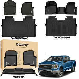 Oedro Floor Mats Liners Tpe For 10 2014 15 2021 Ford F 150 F150 Super Crew Cab