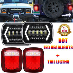 For Jeep Wrangler Yj 87 95 Led Headlights W Drl Turn Signal Tail Reverse Lights