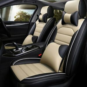 5 Seats Car Seat Cover Pu Leather Front Rear Suv Cushion Set Universal Beige