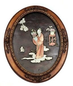 19c Chinese Famille Rose Porcelain Immortal Figure Lacquer Panel Plaque Frame