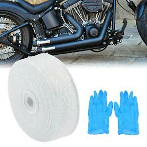 2 X 50ft White Exhaust Muffler Pipes Heat Wrap Tape Roll Set For Motorcycle