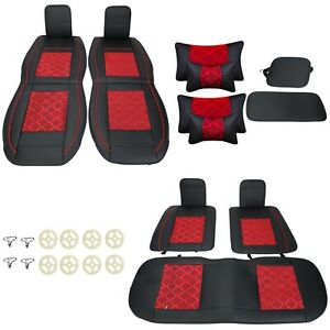 5seat For Suv Seat Cover Cooling Mesh Pu Leather Front Rear Car Cushion W Pillow