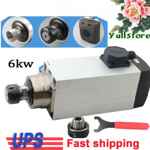 6kw Air cooled Ac Spindle Motor Er32 220v 18000rpm Woodworking Cnc Router 20 8a
