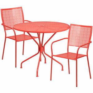 Flash Furniture 35 25 Coral Steel Patio Table Set With 2 Square Back Chairs