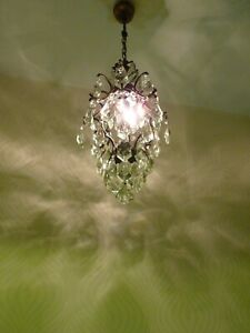 Vintage Brass Crystal Small Cage Chandelier Lamp