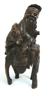 Chinese Carved Bamboo Figure Figurine Sculpture Scholar Man On Horse Asian