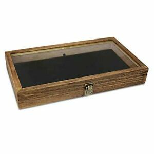 Wood Glass Top Jewelry Display Case Wooden Jewelry Tray For Collectibles Brown
