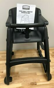 Rubbermaid Commercial Black Youth High Chair Fg780508bla Stackable Wheels Nwt