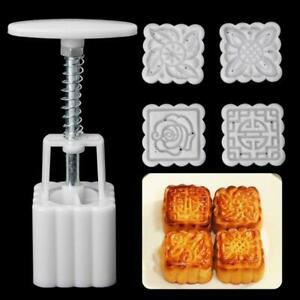 50g Moon Cake Mold 6 Stamps Square Barrel Mooncake Hand Pressure Pastry Mould $5.61