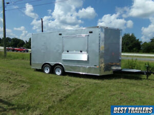 8 X 16 Enclosed Concession Trailer Vending Cargo Silverwindow W Sinks Finished