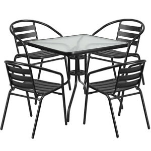 Flash Furniture 31 5 Square Glass Metal Table With 4 Black Metal Chairs