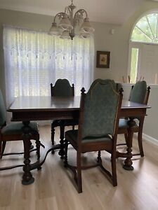Antique Dining Room Set With Six Chairs Buffet