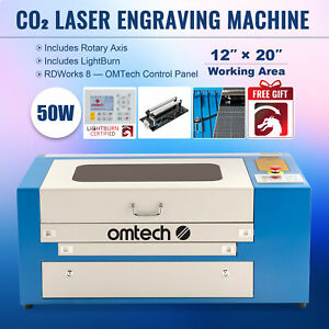 Omtech 50w 20 x12 Co2 Laser Engraving Cutter Withlightburn Rotary Axis