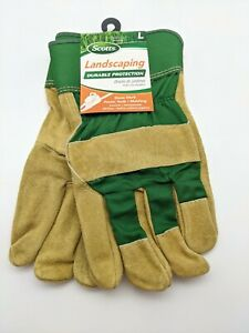 Scotts 100 Leather Palm Work Gloves Landscaping Protection Men s Size Large