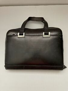 Franklin Covey Compact Full Grain Aniline Leather Zip Planner Binder Black