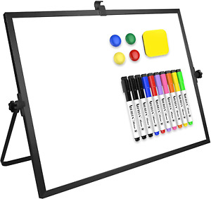 White Board Large Magnetic Desktop Whiteboard 16 x12 With Stand 10 Markers New