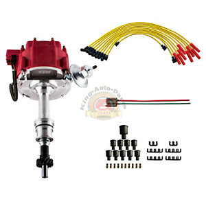 Performance Hei Red Ignition Distributor W Cap Rotor And Spark Plug Wire Set