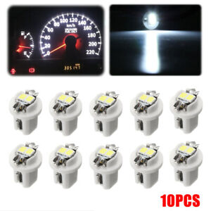 10pc White T5 B85d 5050 2 Led Car Dash Wedge Gauge Instrument Side Light Bulb Fits More Than One Vehicle