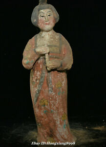 14 9 Old Tang Sancai Pottery Stand Beauty Belle Flute Musical Instrument Statue