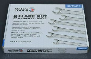 New Matco 6pc 9 21mm Metric Double End Flare Nut Flank Drive Line Wrench Set